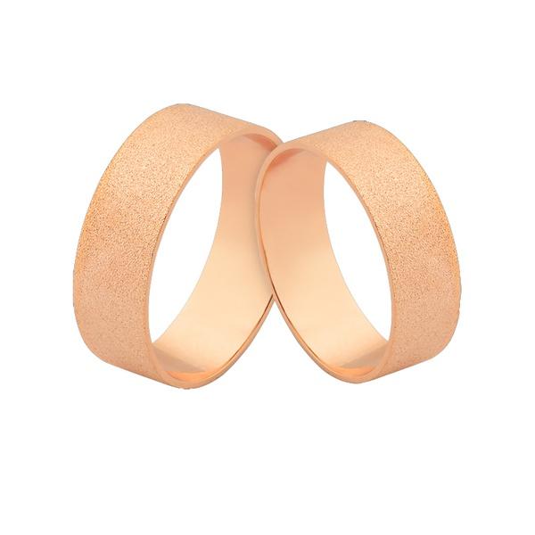Alianças De Noivado Em Ouro Rosé 18k - L-J-495-R - Alianças Jessica