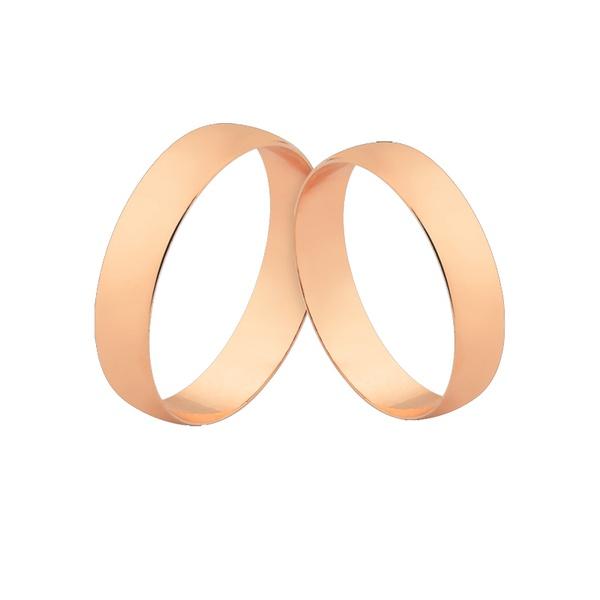 Alianças De Ouro Rosé 18k Chapa Reta Com Garantia