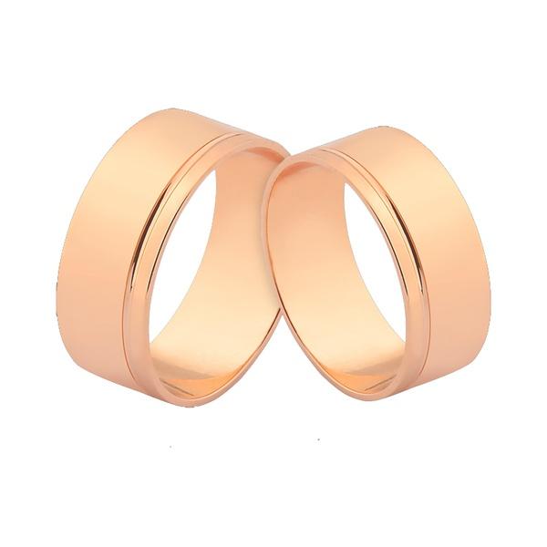 Alianças De Ouro Rosé 18k Largas