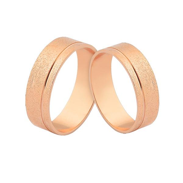 Alianças De Ouro Rosé 18k Retas Foscas