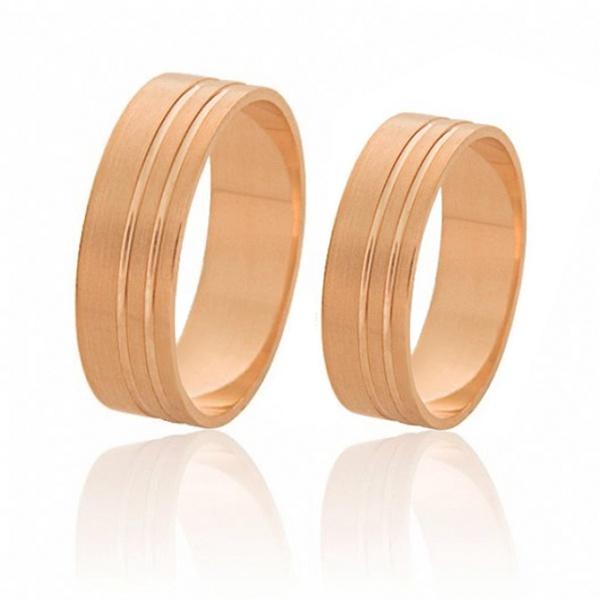 Alianças De Ouro Rosé Retas 6,00mm Preço Promocional