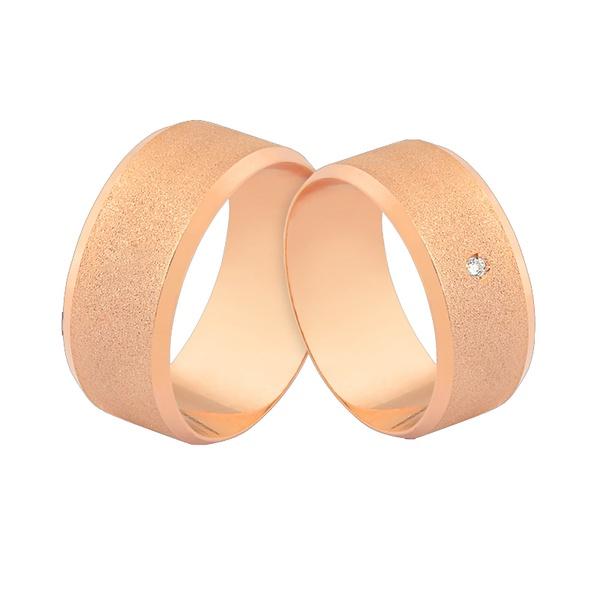 Alianças Em Ouro Rosé 18k Com Diamante