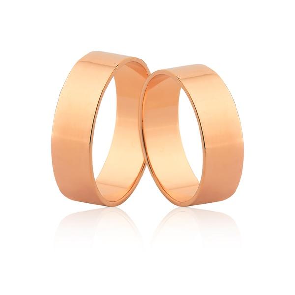 Alianças Largas De Ouro Rosé 18k