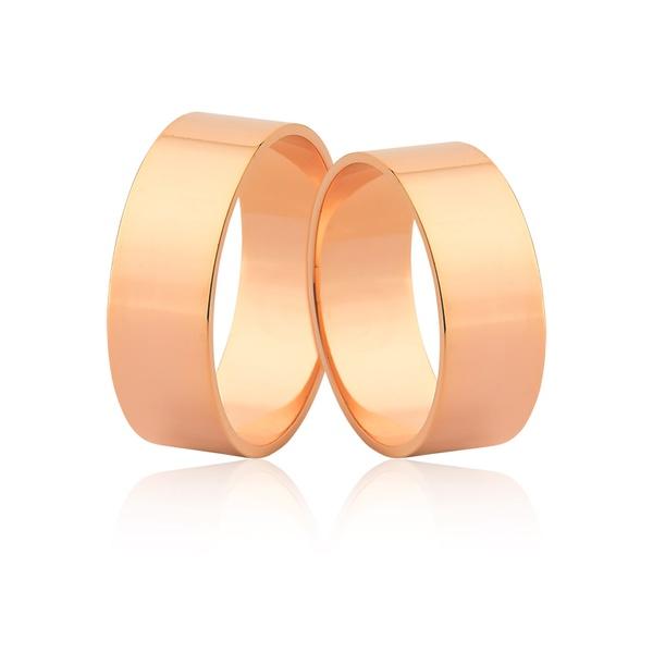 Alianças Pesadas Em Ouro Rosé 18k