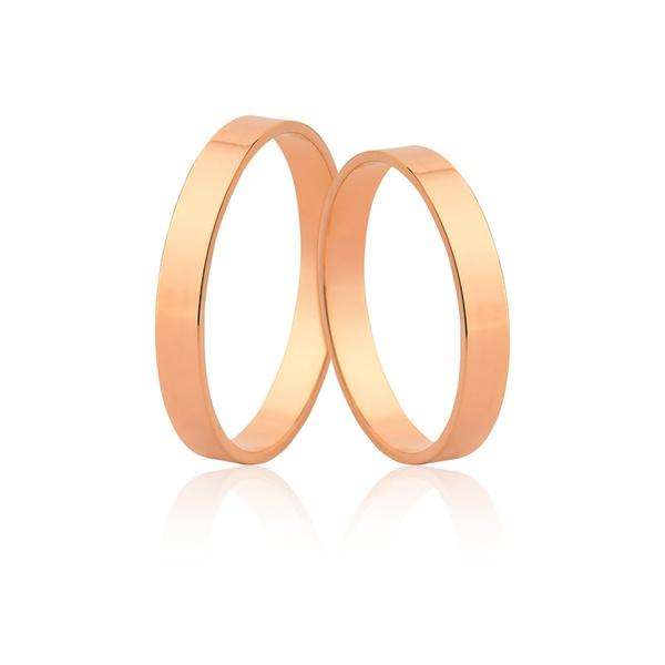Par De Alianças De Ouro Rosé 18k