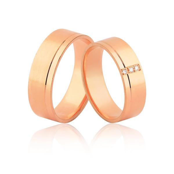 Alianças De Noivado e Casamento De Ouro Rosé