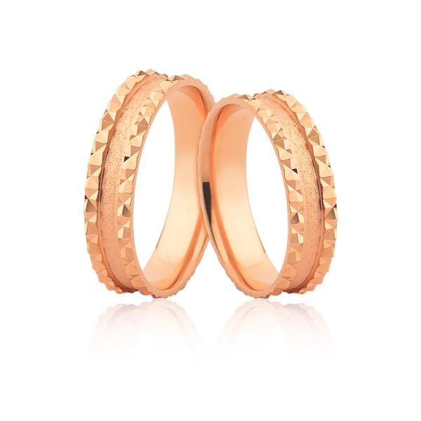 Alianças Trabalhadas Em Ouro Rosé 18k