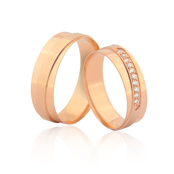 Alianças Com Diamantes - L-JN-385-R - Alianças Jessica