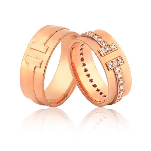 Alianças De Ouro Rose Com Diamantes