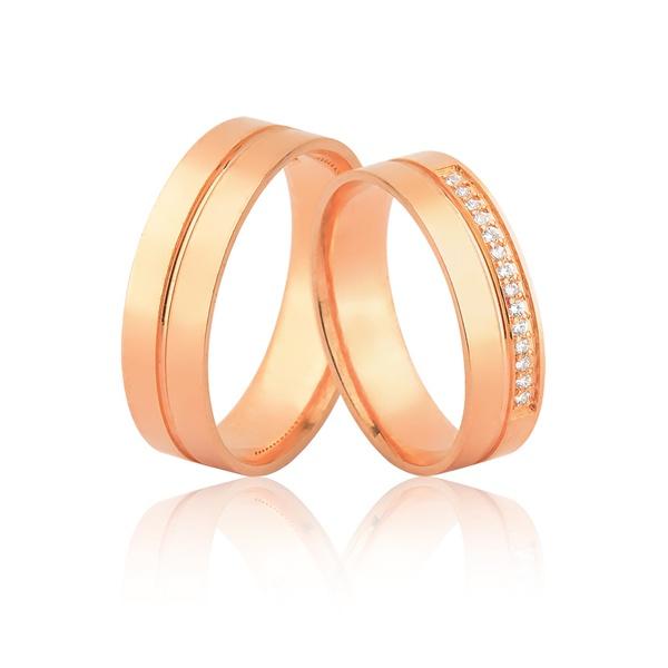 Alianças Em Ouro Rosé 18k Com Diamantes