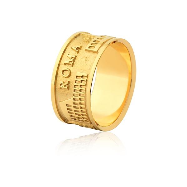 Aliança De Ouro 18k Com a Cidade De Roma - L-JN-506 - Alianças Jessica