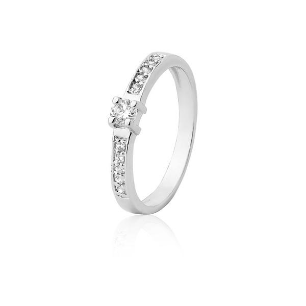 Anel De Prata Com Pedras Sintéticas - L-AG-1200-u - Alianças Jessica