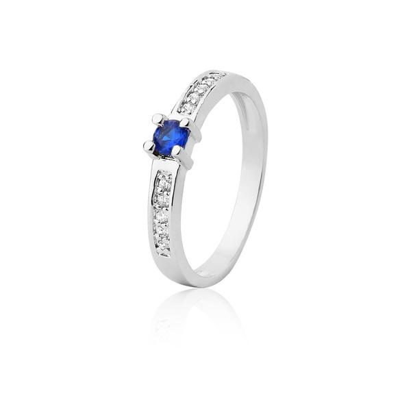 Anel De Prata Com Safira Azul Sintética - L-AG-1201-u - Alianças Jessica