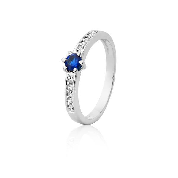 Anel De Prata Com Safira Azul Sintética - L-AG-1205-u - Alianças Jessica