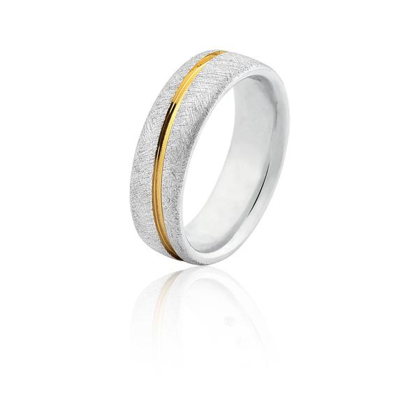 Alianças Em Prata Com Filete Banhado a Ouro 18k - L-AG-2045-u - Alianças Jessica
