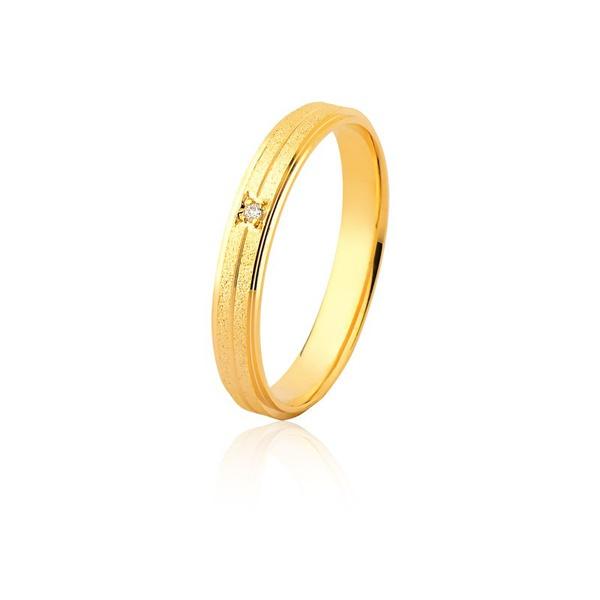 Aliança De Ouro Amarelo 18k (3,5mm) Com Brilhante