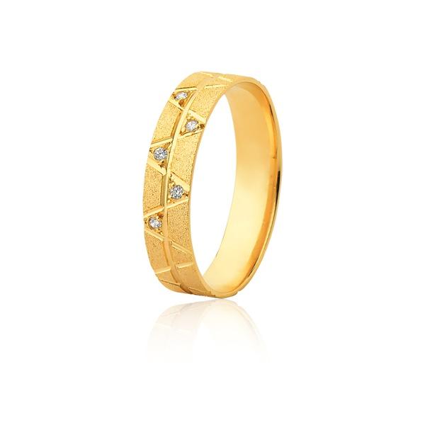 Aliança 05 Diamantes 0,01pontos Ouro Amarelo 18k (5,00mm) - L-JE-600-f-u - Alianças Jessica