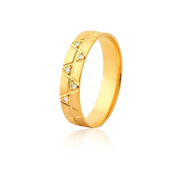 Aliança 05 Diamantes 0,01pontos Ouro Amarelo 18k (4,80mm) - L-JE-601-f-u - Alianças Jessica