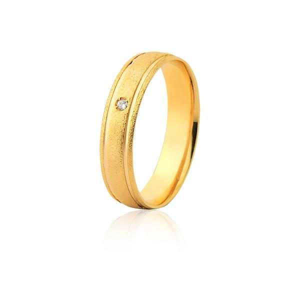 Aliança 01 Diamante 0,01pontos Ouro Amarelo 18k (5,00mm)