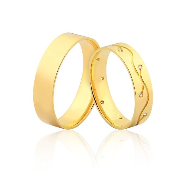 Alianças De Ouro 18k Sergipe - L-JN-409-SE - Alianças Jessica