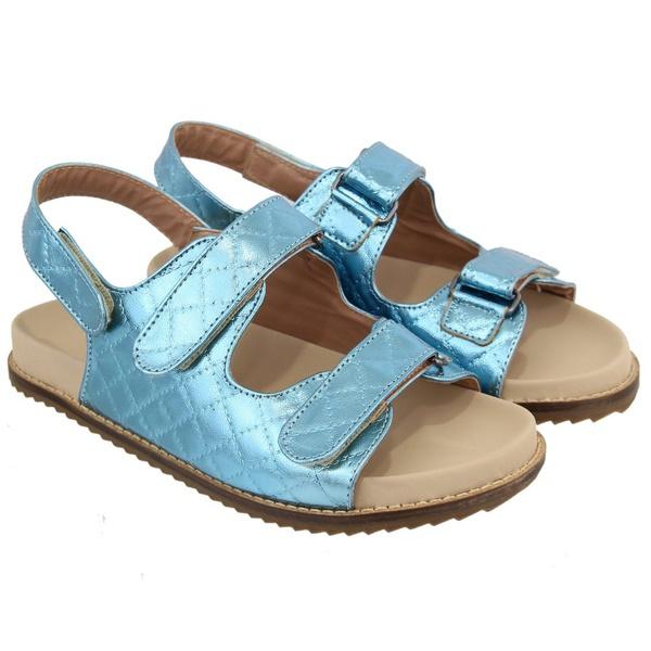 Sandália Papete Matelassê Feminina Azul