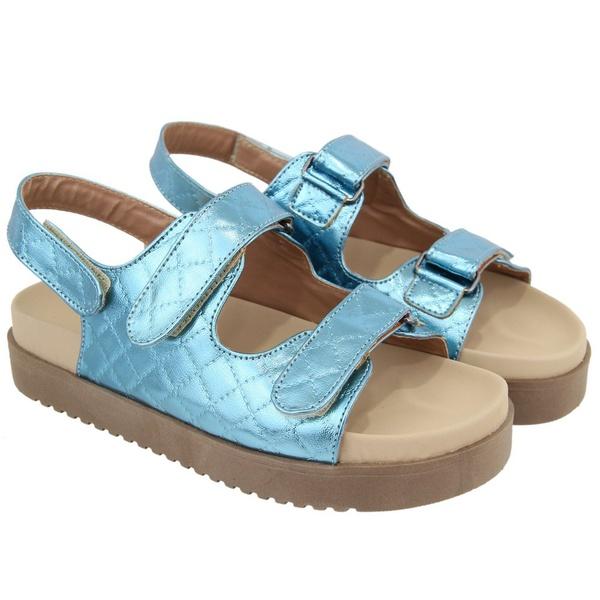 Sandália Papete Matelassê Sola Alta Feminina Azul