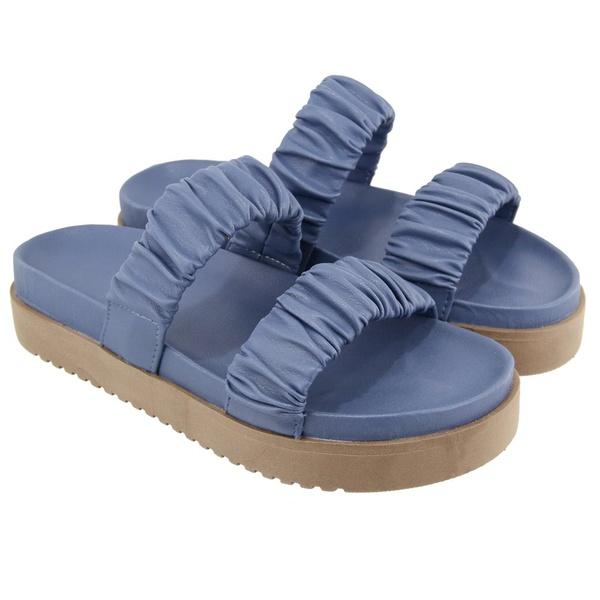 Sandália Slide Sola Alta Feminina Azul