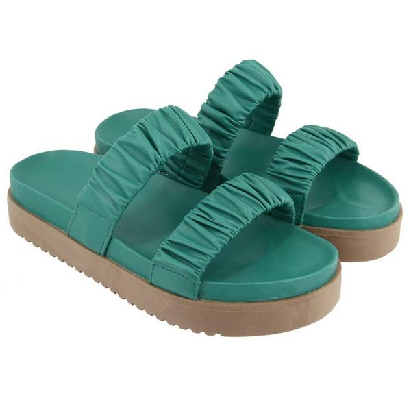 Sandália Slide Sola Alta Feminina Verde