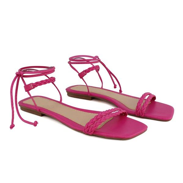 Sandália Rasteira de Amarrar Feminina Pink