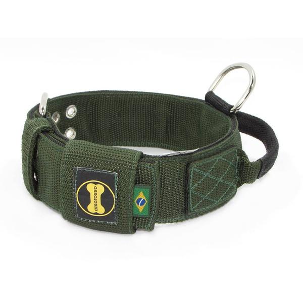 Coleira Para Cachorro Poderosso (verde militar e preto)