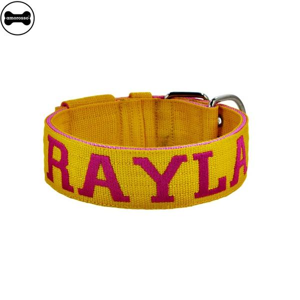 Coleira Para Cachorro Personalizada (amarelo e pink)