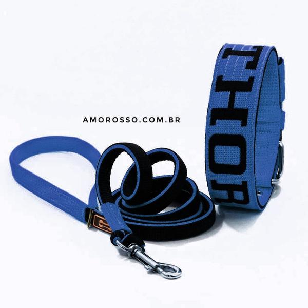 Coleira Para Cachorro Personalizada + Super Guia 1,50m (azul e preto)
