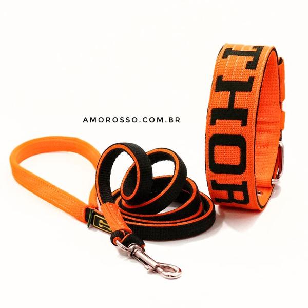 Coleira Para Cachorro Personalizada + Super Guia 1,50m (laranja e preto)