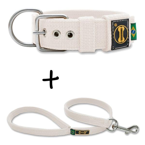 Coleira Para Cachorro Fit + Guia / Branco