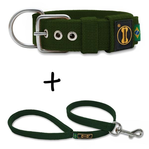 Coleira Para Cachorro Fit + Guia / Verde Militar