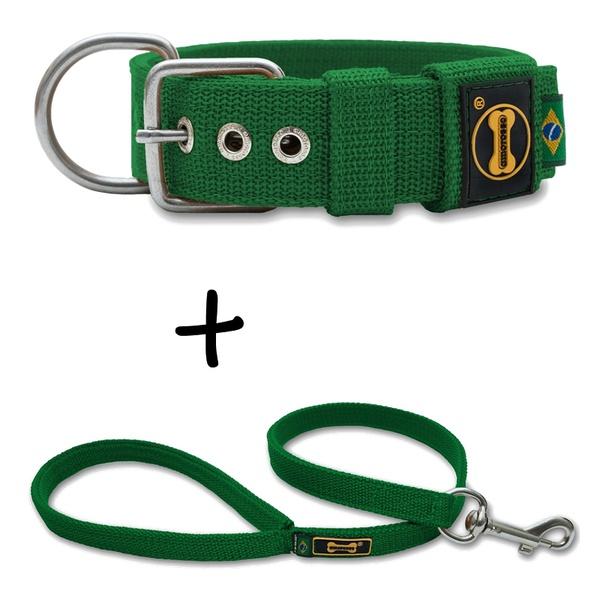 Coleira Para Cachorro Fit + Guia / Verde