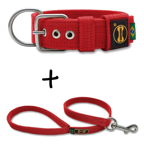 Coleira Para Cachorro Fit + Guia / Vermelho