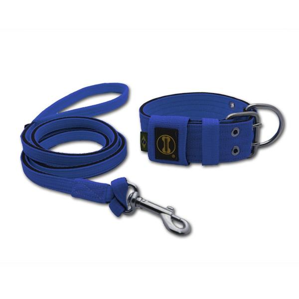 Coleira Para Cachorro + Super Guia 1,50m (azul e preto)