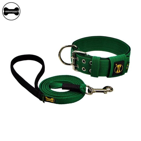 Coleira Para Cachorro Amorosso + Guia Longa de 1,80m (Verde e Preto)