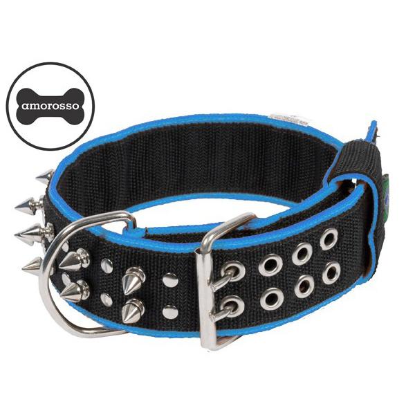 Coleira Amorosso® Spike (preta e azul)