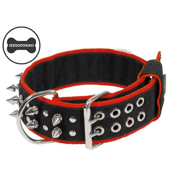 Coleira Amorosso® Spike (preto e vermelho)