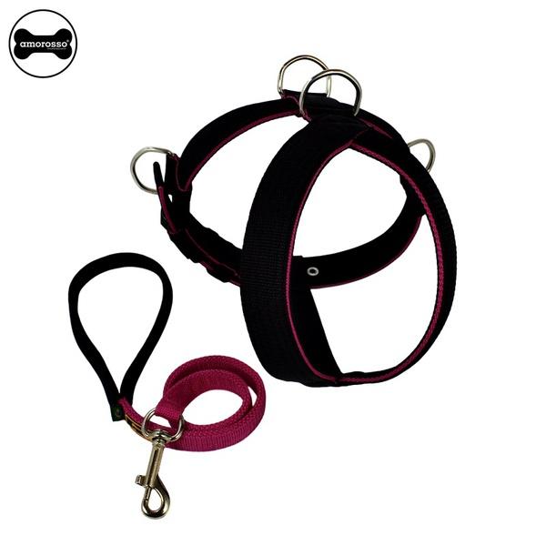Peitoral Tradicional Amorosso® (preto e pink ) + Guia de Passeio 80cm