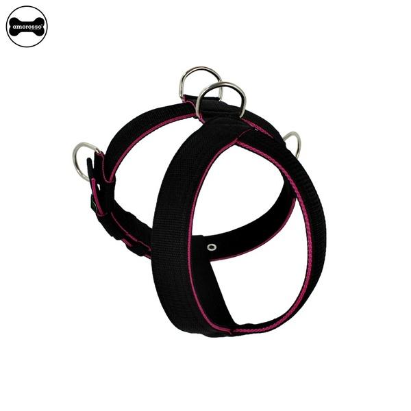 Peitoral Amorosso® Tradicional (preto e pink)