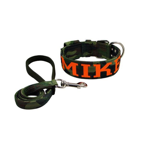 Coleira Camuflado Militar Personalizada + Guia de passeio camuflado