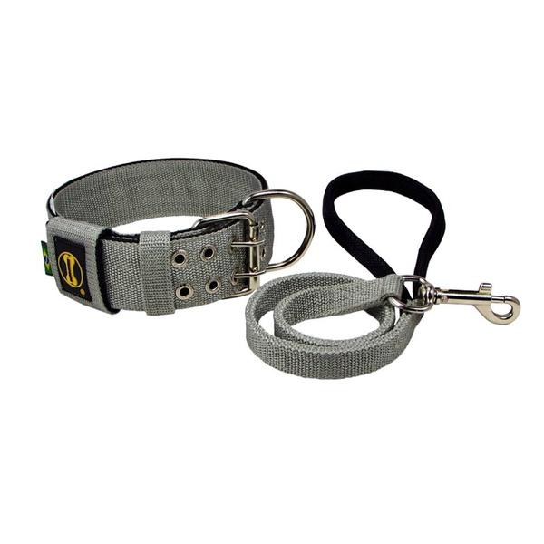Coleira Para Cachorro Amorosso + Guia Curta 80cm (Cinza e Preto)