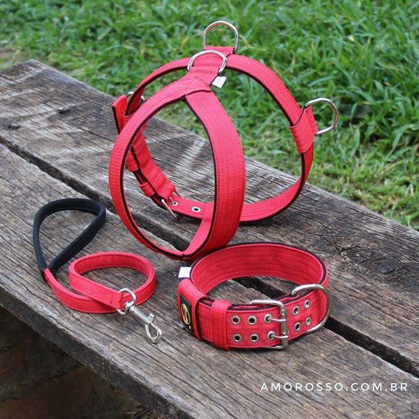 Kit Tradicional Amorosso ( Peitoral + Coleira + Guia ) (vermelho e preto)