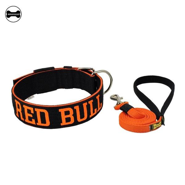 Coleira Para Cachorro Personalizada + Guia Longa 1,80m (preto e laranja)