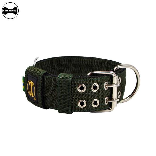 Coleira Para Cachorro Amorosso (Verde Militar e Preto)