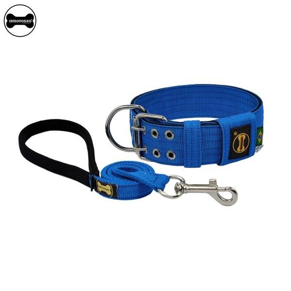 Coleira Para Cachorro Amorosso + Guia Curta 80cm (Azul e Preto)