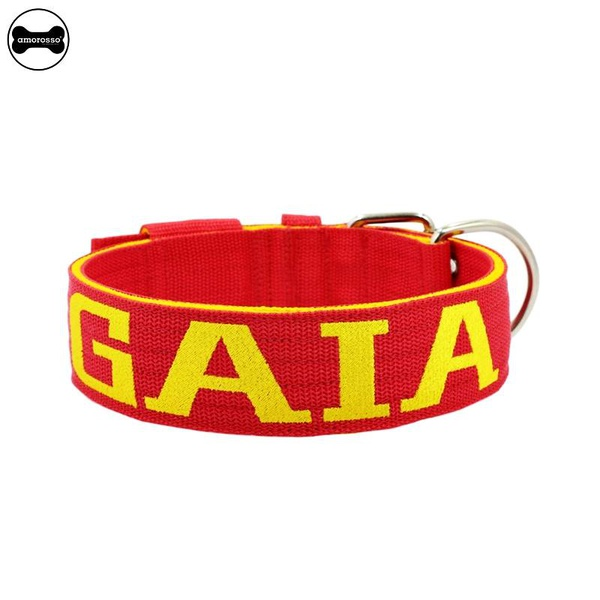 Coleira Para Cachorro Personalizada (vermelho e amarelo)